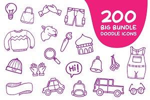 200 Big Bundle Doodle Icons