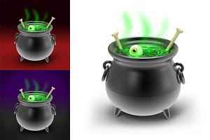 Halloween Cauldron 3D Illustration