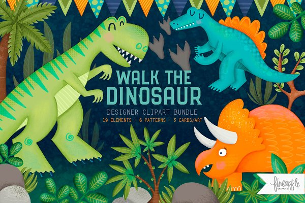 Illustrations: FINEAPPLE PAIR - WALK THE DINOSAUR