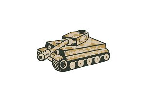 World War Two Panzer Tank Retro