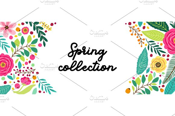 Cute Spring Flowers Horizontal Illustrations Creative Market