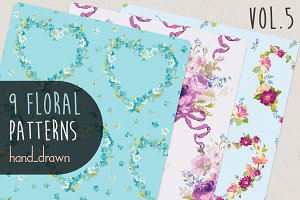 9 Floral Patterns Vol5
