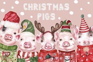 Christmas Watercolor Pigs 2019