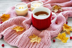 autumn flat lay with cup of tea and