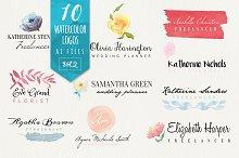 10 Watercolor Logos Vol2
