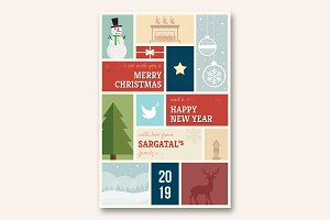 Cute Christmas and New Year Card V01