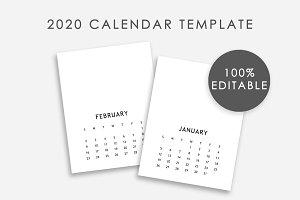 Editable Calendar Template 2020