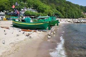 Beach With Fishing Boats In Gdynia
