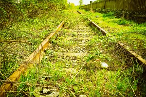 disused railway tracks vintage retro