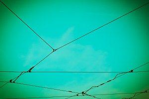 Overhead tram line vintage retro