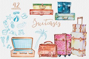 Watercolor Suitcases Clipart Set