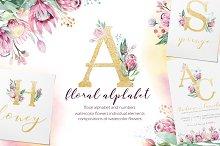 Watercolor Gold & Vinous alphabet