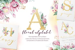 Watercolor Gold & Vinous alphabet