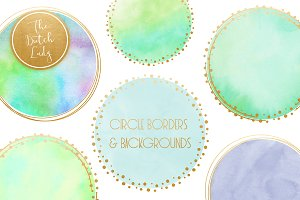 Watercolor Logo Circle Clipart Set
