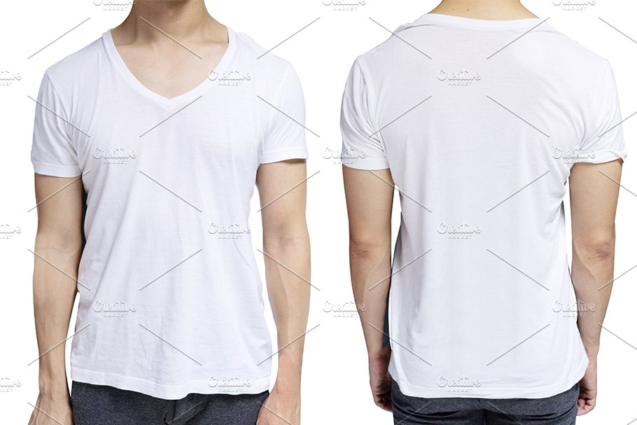 White Blank V Neck T Shirt Template Product Mockups Creative Market