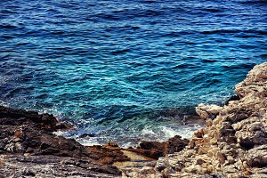 Blue water of adriatic sea.