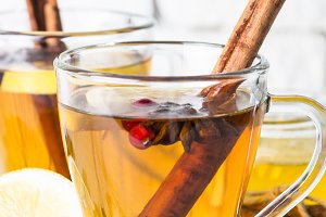 Autumn or winter hot tea with fruit
