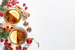 Winter hot tea with fruit, berries
