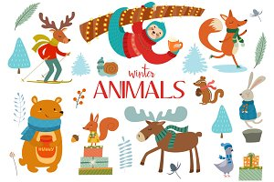 Collection of winter wild animals.