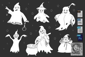 Cute ghosts set