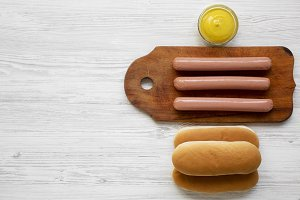Hotdog ingredients: sausages