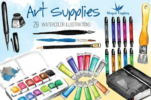 Watercolor art supplies illustration