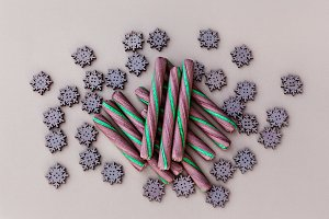 Bunch Of Candy Cane And Snowflakes