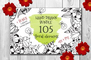 105 Hand Drawn Floral elements