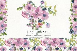 Watercolor Mauve Rose Clipart