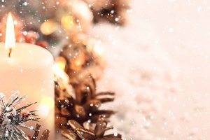 Christmas banner. Burning candle and