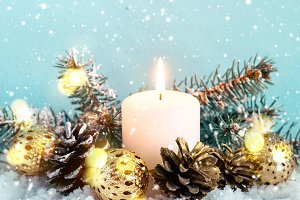 Christmas blue composition. Burning