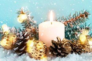 Christmas blue banner. Burning candl