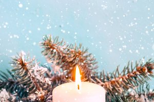 christmas greeting card. Candle and