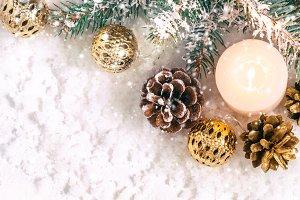 Christmas snow banner. Burning candl