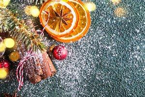 Christmas greeting card. Dry oranges