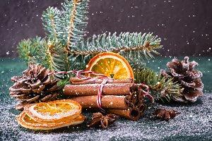 Christmas greeting card with cinnamo