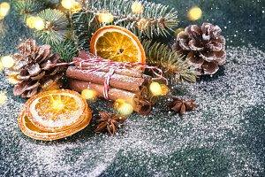 Christmas composition with cinnamon,