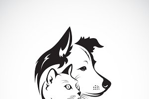 Vector of dog and cat head. Pet.