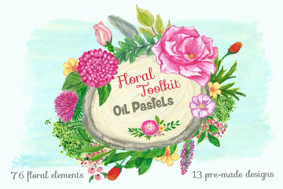 Oil Pasterls Floral Collection