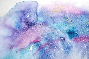 Watercolor blue pink purple stain