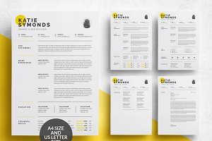 4 Pages Clean Resume Template/CV