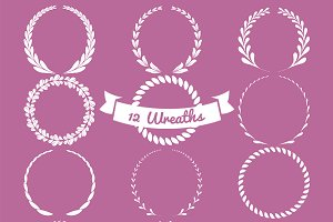 12 Vector Wreaths, Vol 1