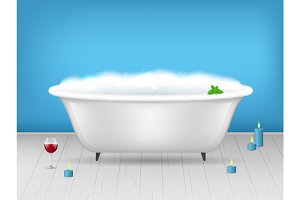 Bathroom Bathtub with Foam Card