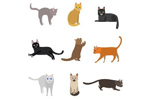 Cute Cats Characters Set. Vector