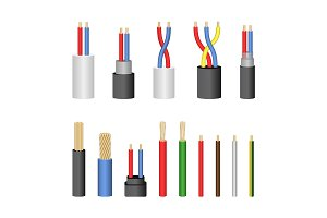 3d Electrical Cable Set. Vector