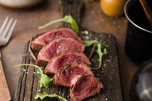 Homemade Beef Steak rare