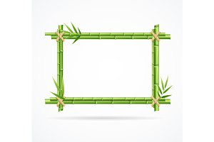 Realistic 3d Green Bamboo Frame.