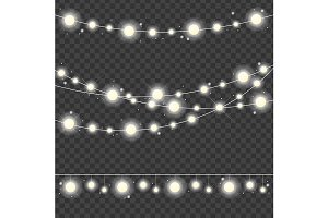 Realistic 3d Christmas Lights String