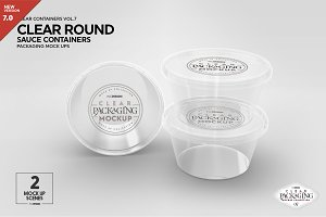 Clear Round Sauce Containers Mockup