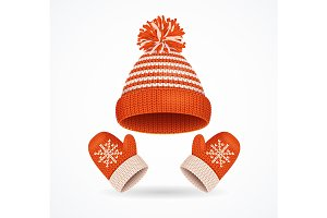 Winter Hat and Mittens Set. Vector